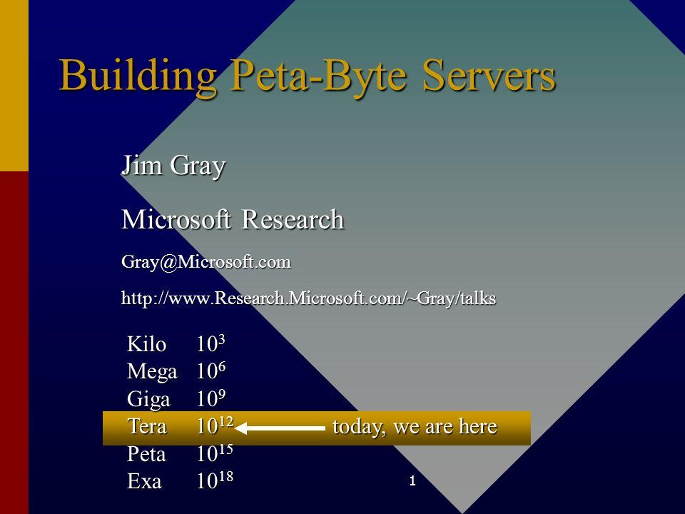 Building Peta-Byte Servers