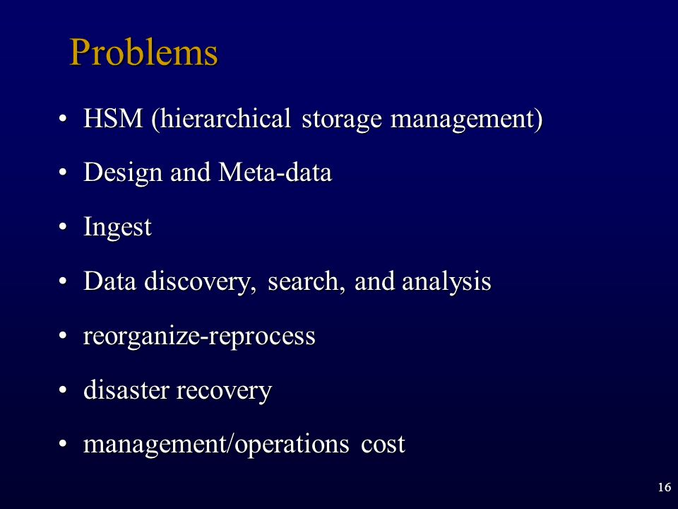 Problems HSM (hierarchical storage management) Design and Meta-data