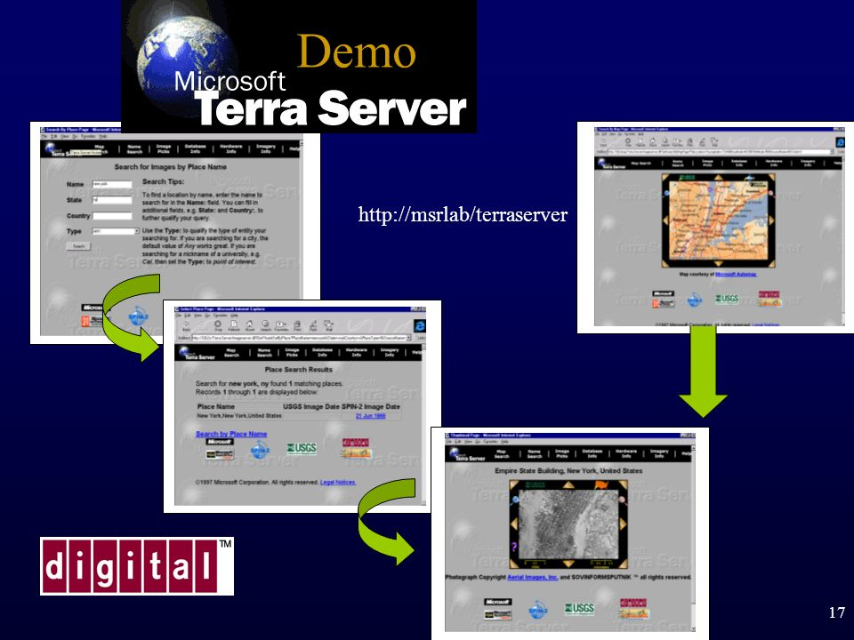 Demo http://msrlab/terraserver