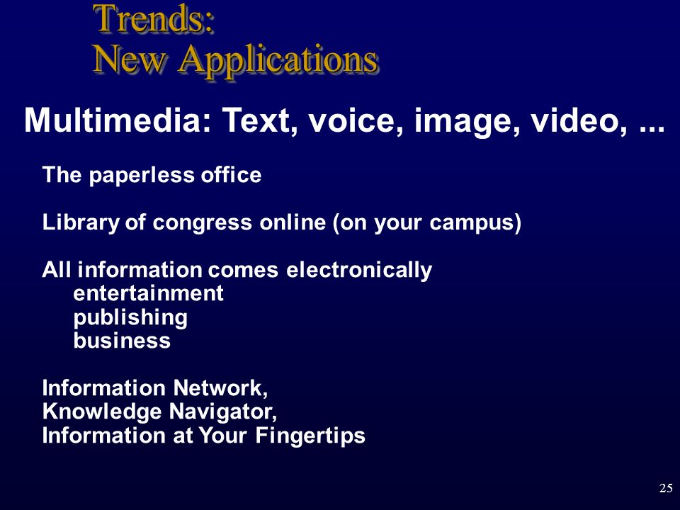 Trends: New Applications