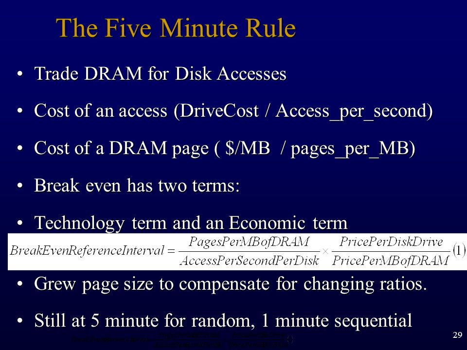 The Five Minute Rule Trade DRAM for Disk Accesses