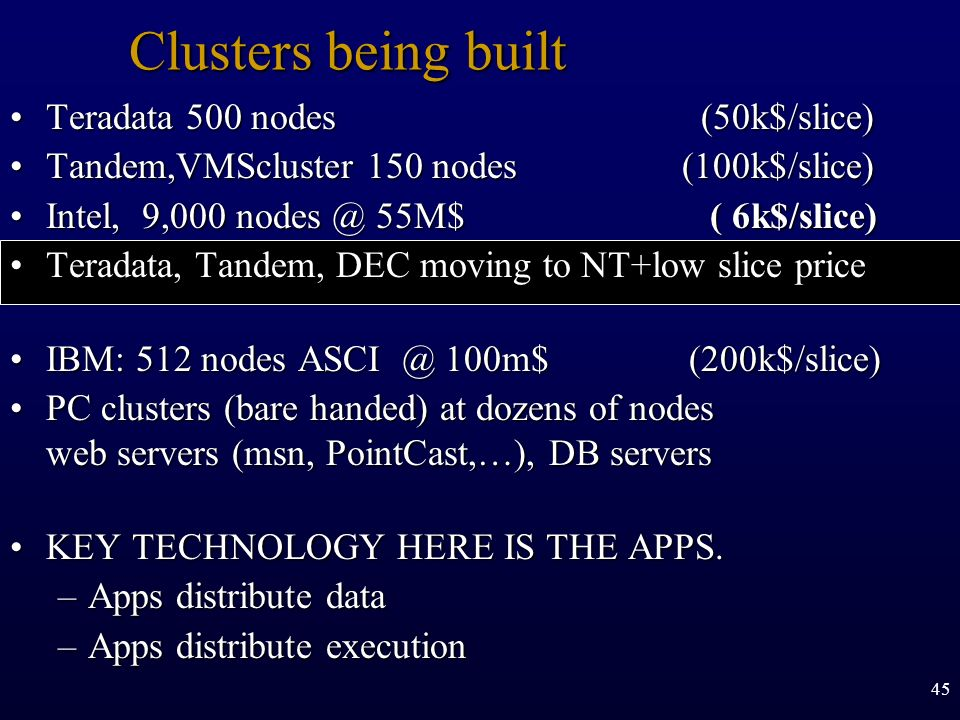 Clusters being built Teradata 500 nodes (50k$/slice)
