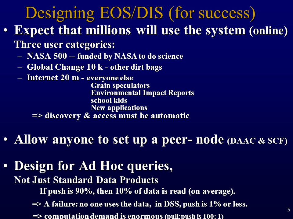 Designing EOS/DIS (for success)