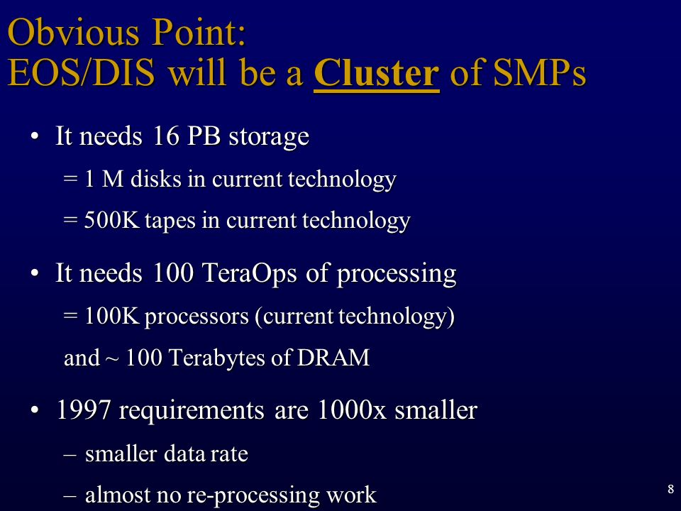 Obvious Point: EOS/DIS will be a Cluster of SMPs