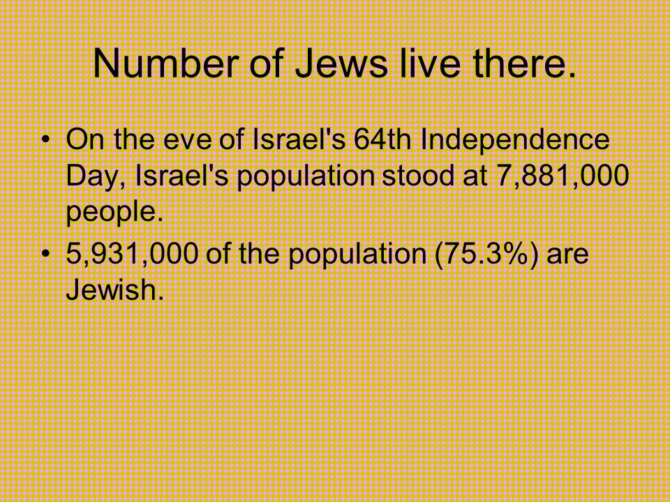 Number of Jews live there.