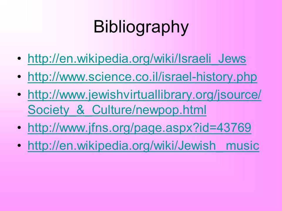 Bibliography http://en.wikipedia.org/wiki/Israeli_Jews