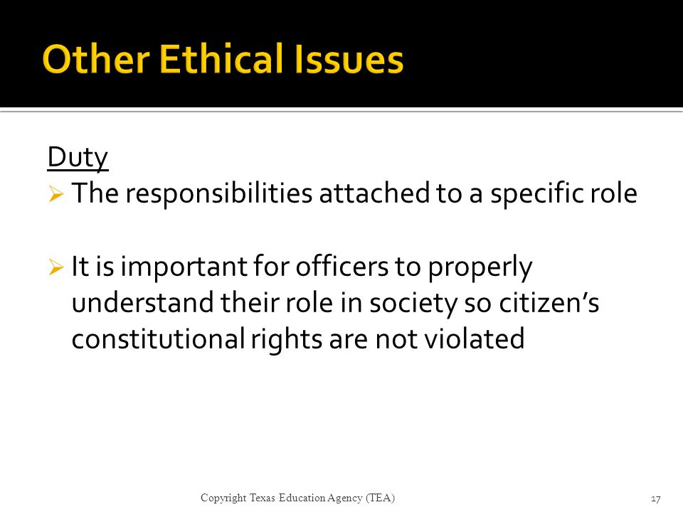 Other Ethical Issues Duty