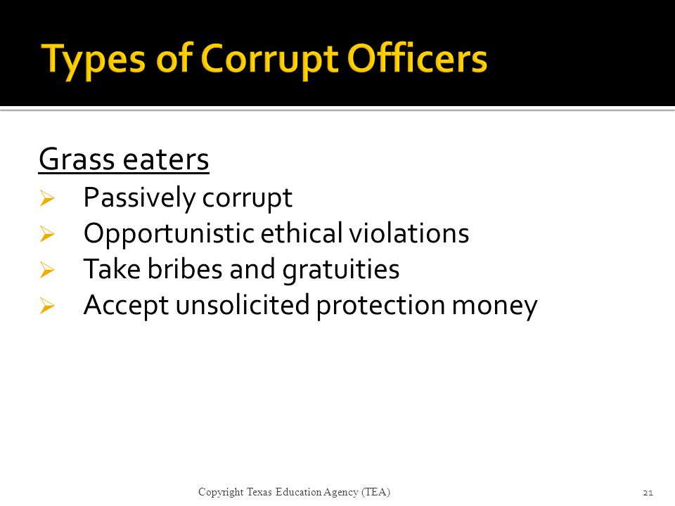 Types of Corrupt Officers