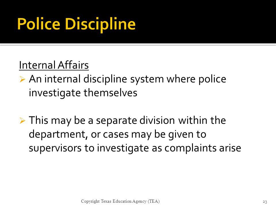 Police Discipline Internal Affairs