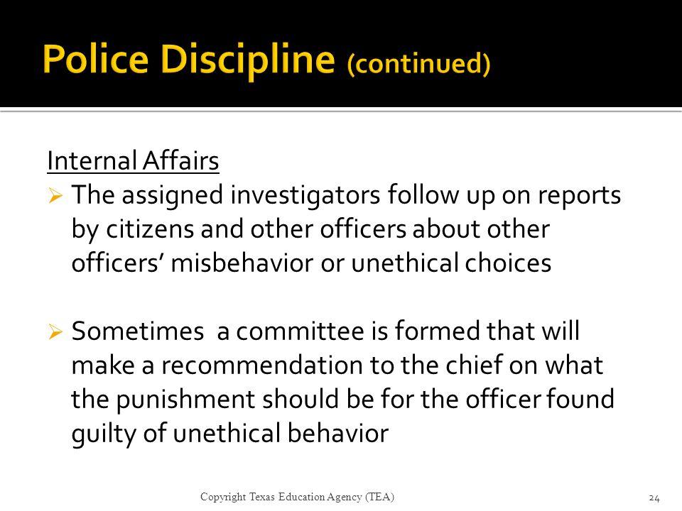 Police Discipline (continued)