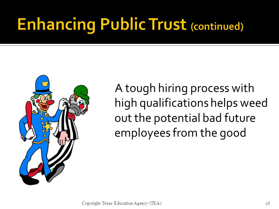 Enhancing Public Trust (continued)