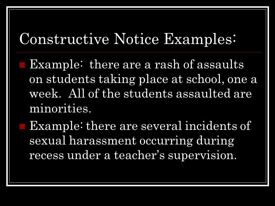 Constructive Notice Examples: