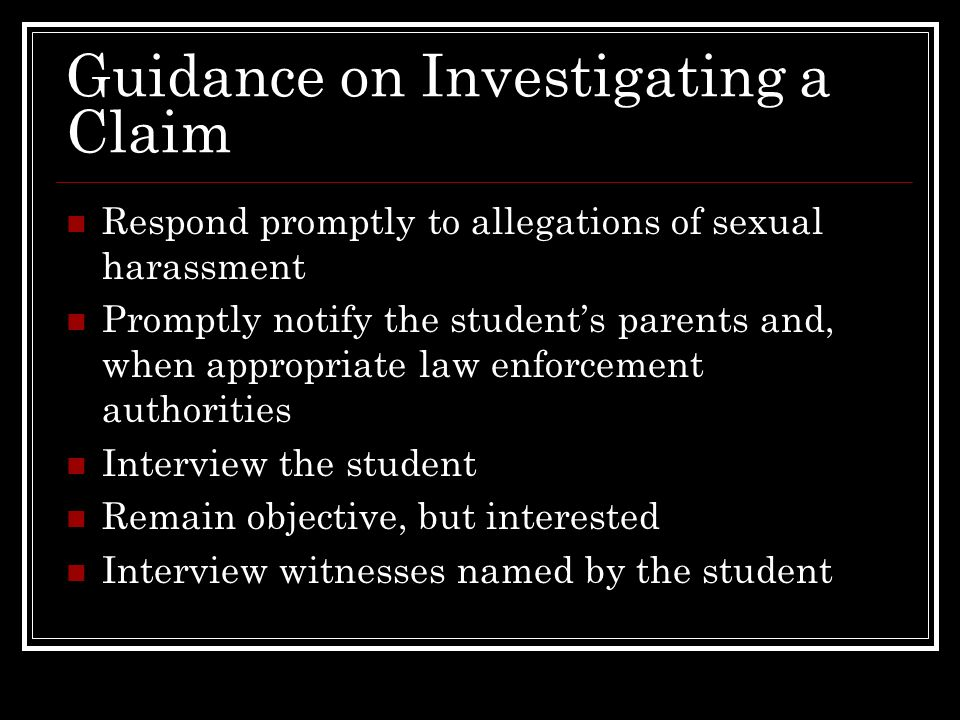 Guidance on Investigating a Claim