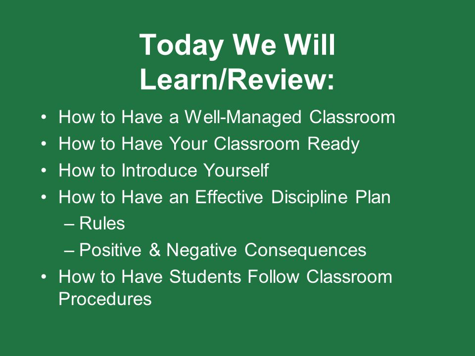 Today We Will Learn/Review: