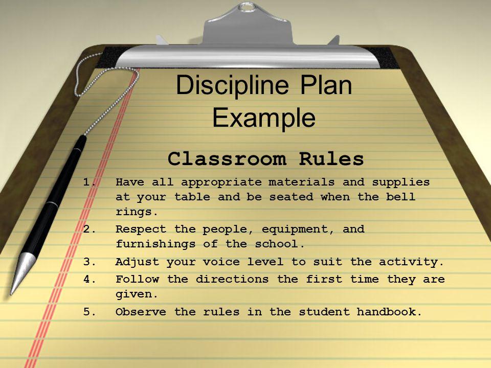 Discipline Plan Example