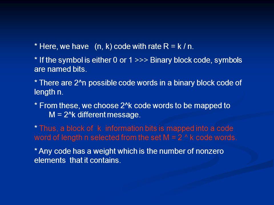 * Here, we have (n, k) code with rate R = k / n.