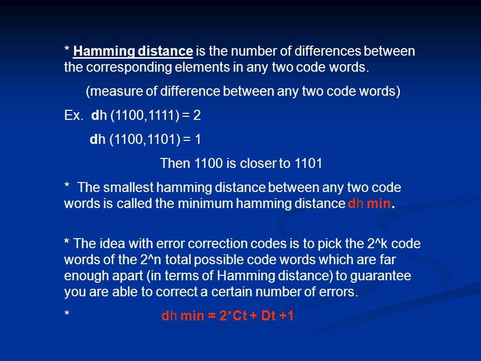 (measure of difference between any two code words)