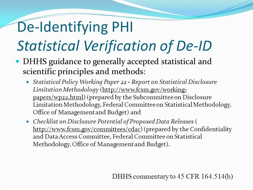 De-Identifying PHI Statistical Verification of De-ID