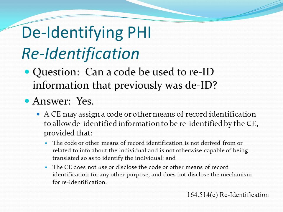 De-Identifying PHI Re-Identification