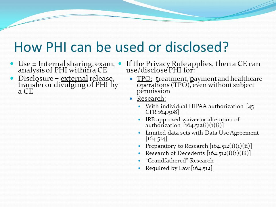How PHI can be used or disclosed