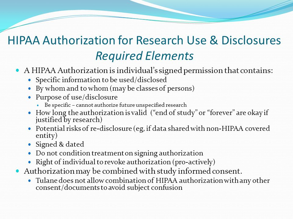 HIPAA Authorization for Research Use & Disclosures Required Elements