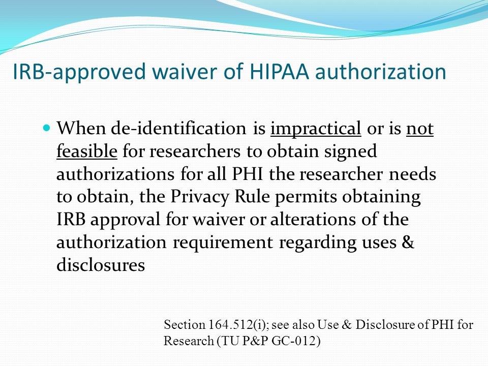 IRB-approved waiver of HIPAA authorization