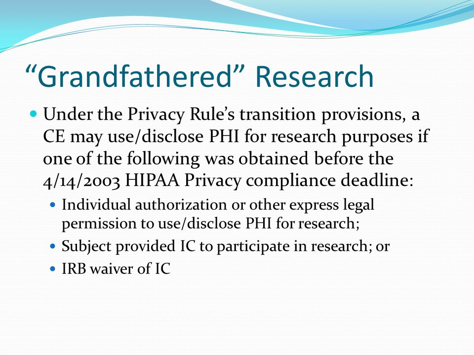 Grandfathered Research