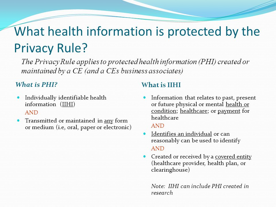 What health information is protected by the Privacy Rule