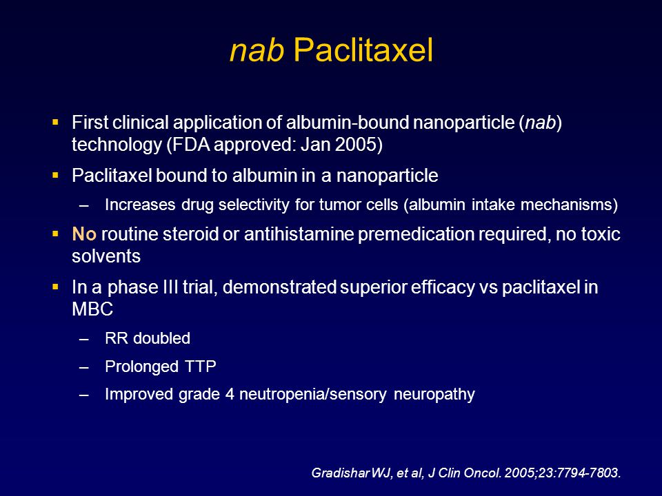 nab Paclitaxel 4/6/2017 2:24 PM. First clinical application of albumin-bound nanoparticle (nab) technology (FDA approved: Jan 2005)
