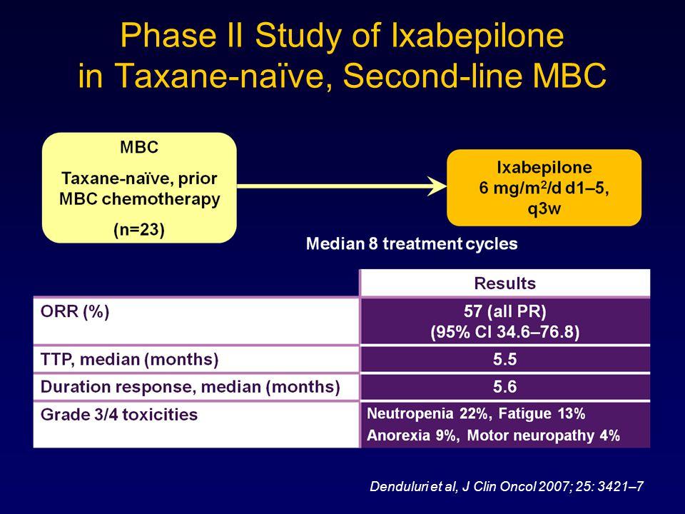 Phase II Study of Ixabepilone in Taxane-naïve, Second-line MBC