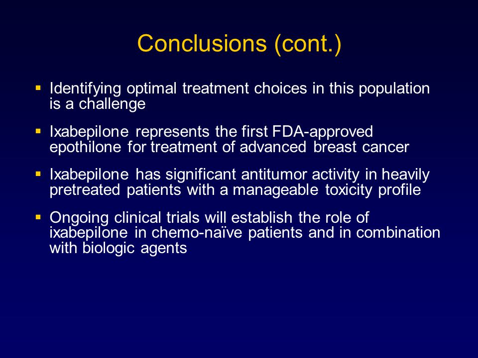 Conclusions (cont.) Identifying optimal treatment choices in this population is a challenge.