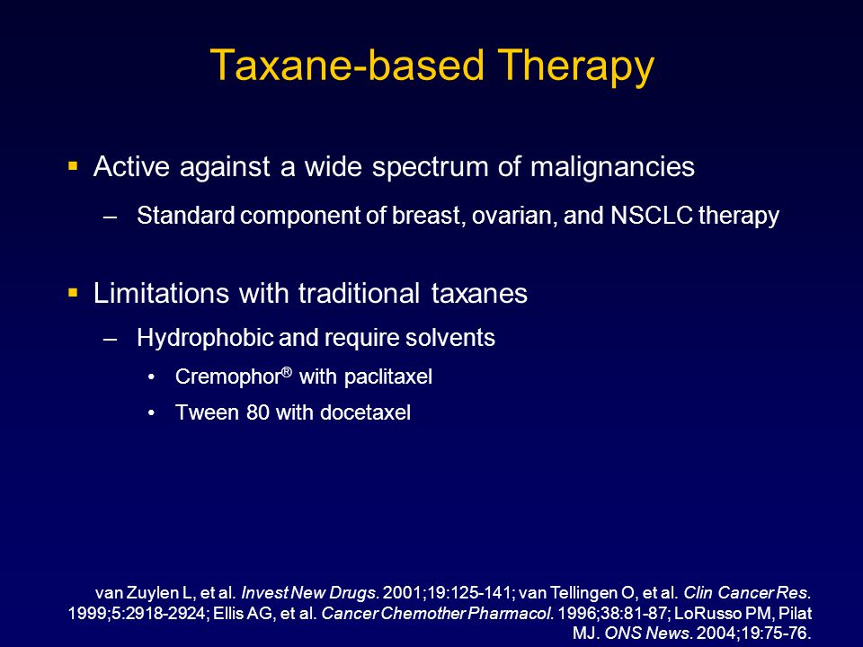 Taxane-based Therapy Active against a wide spectrum of malignancies