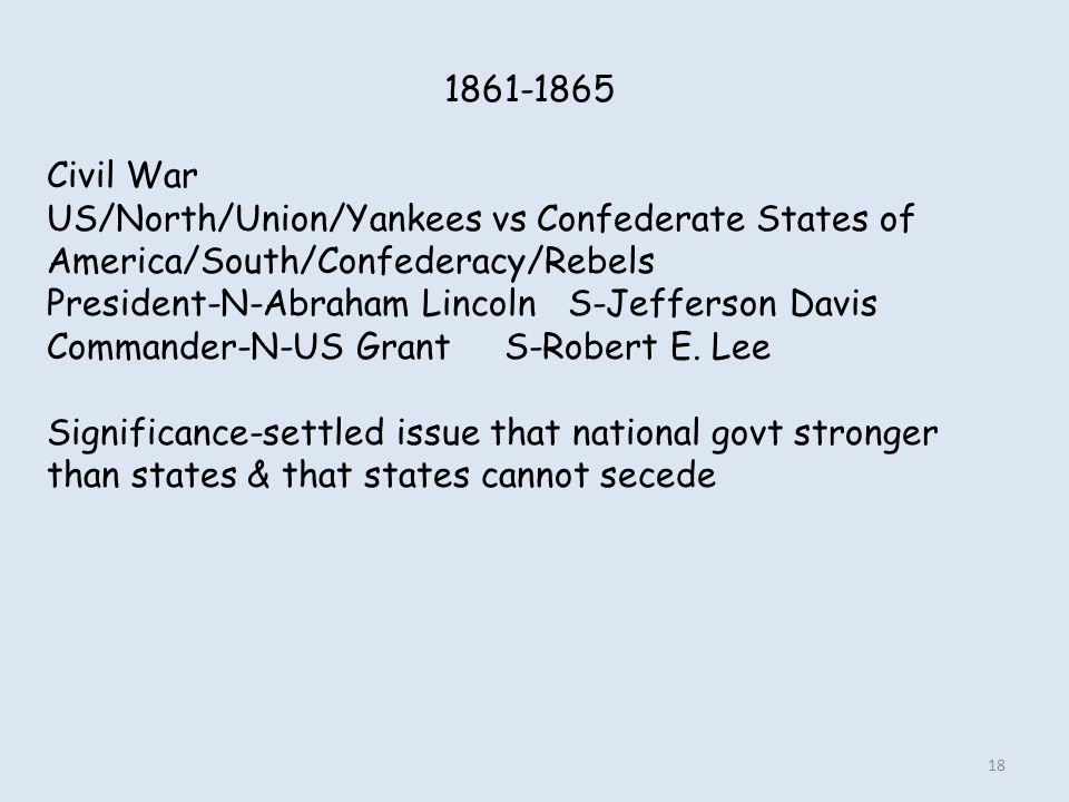 1861-1865 Civil War. US/North/Union/Yankees vs Confederate States of America/South/Confederacy/Rebels.