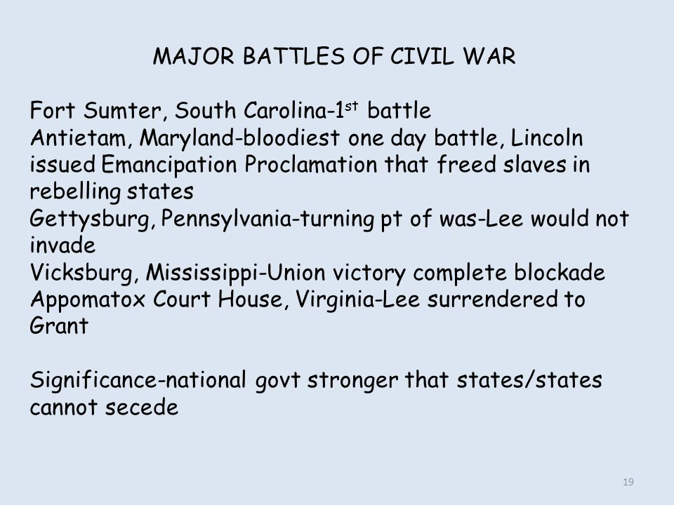MAJOR BATTLES OF CIVIL WAR