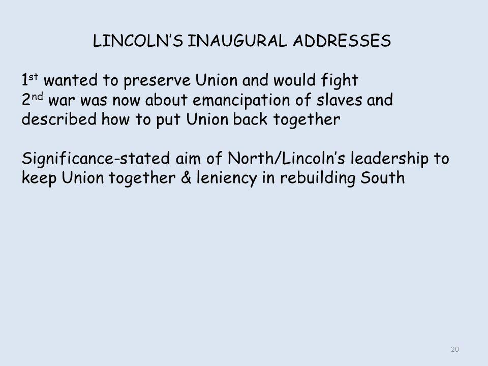 LINCOLN'S INAUGURAL ADDRESSES