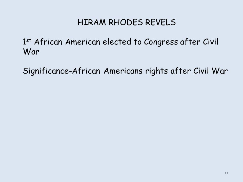 HIRAM RHODES REVELS 1st African American elected to Congress after Civil War.