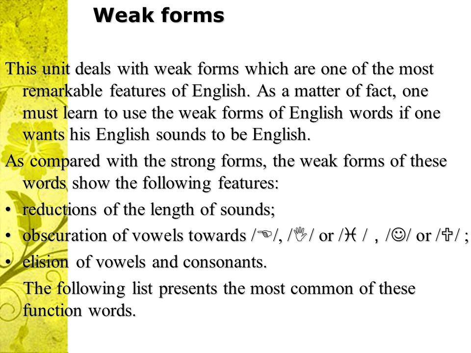Weak forms