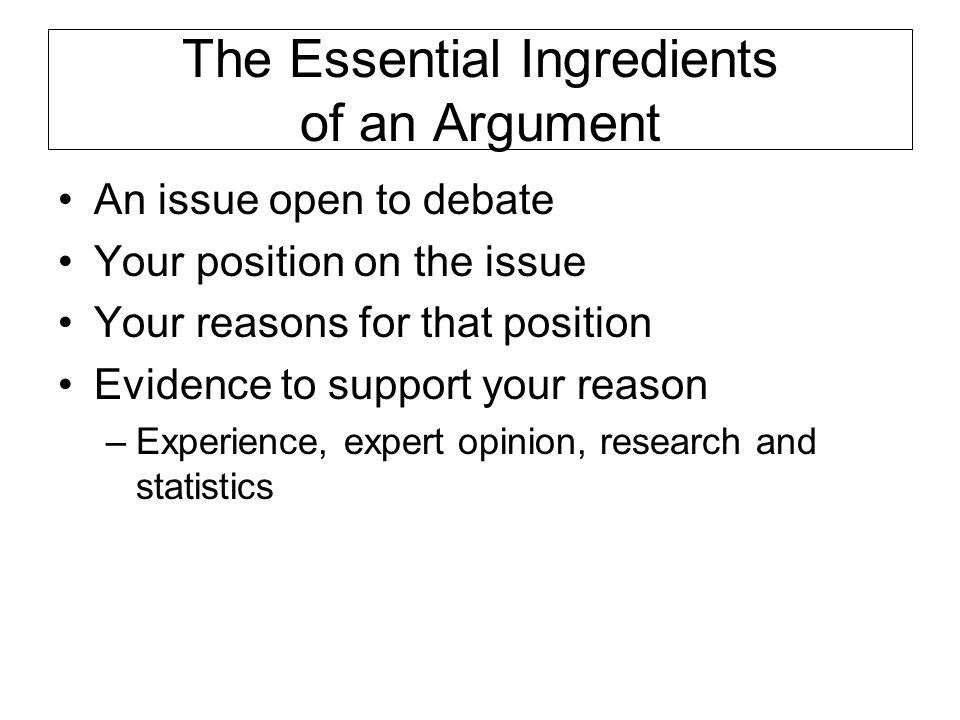 The Essential Ingredients of an Argument