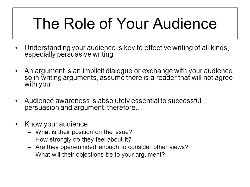 The Role of Your Audience