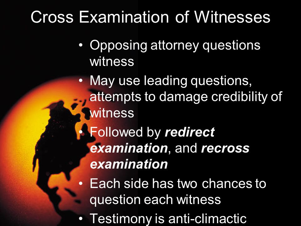 Cross Examination of Witnesses