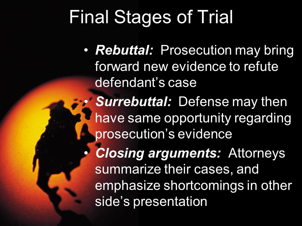 Final Stages of Trial Rebuttal: Prosecution may bring forward new evidence to refute defendant's case.