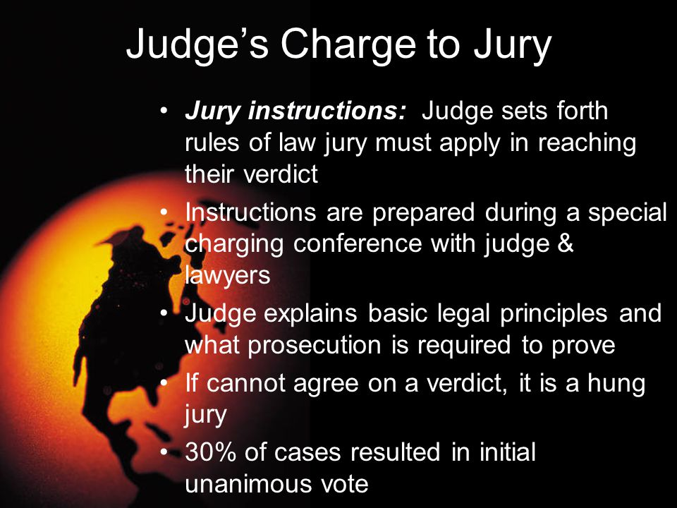 Judge's Charge to Jury Jury instructions: Judge sets forth rules of law jury must apply in reaching their verdict.