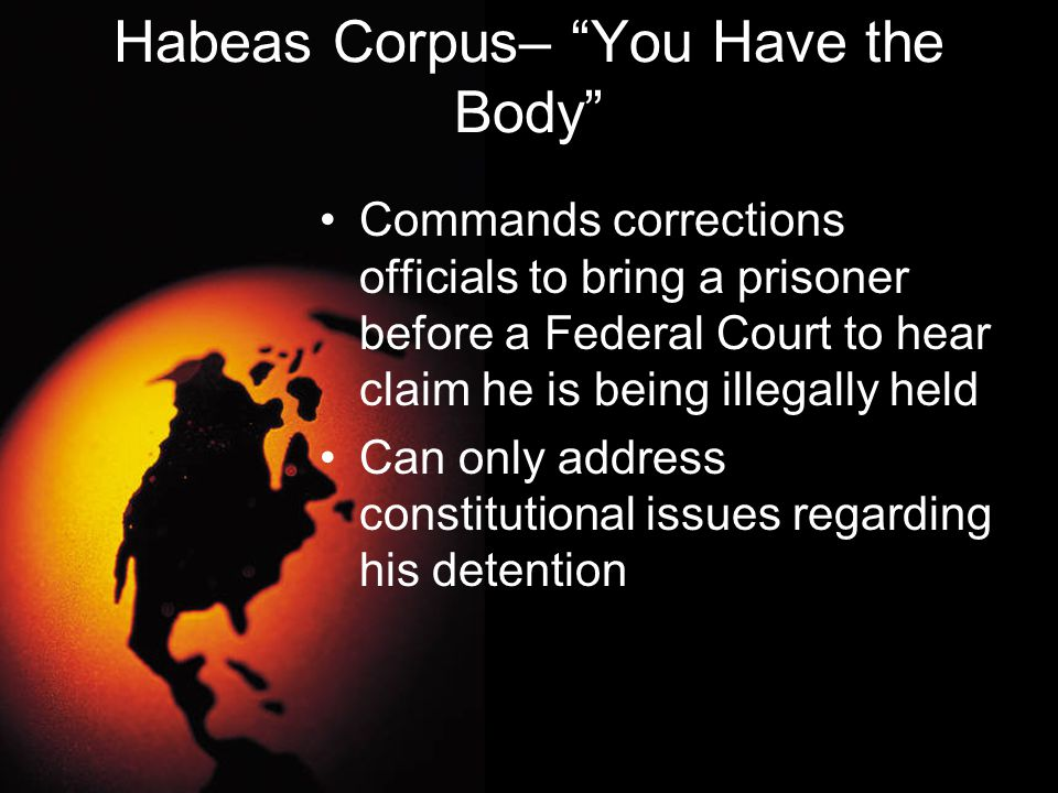 Habeas Corpus– You Have the Body