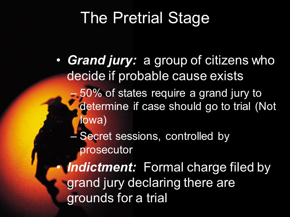 The Pretrial Stage Grand jury: a group of citizens who decide if probable cause exists.