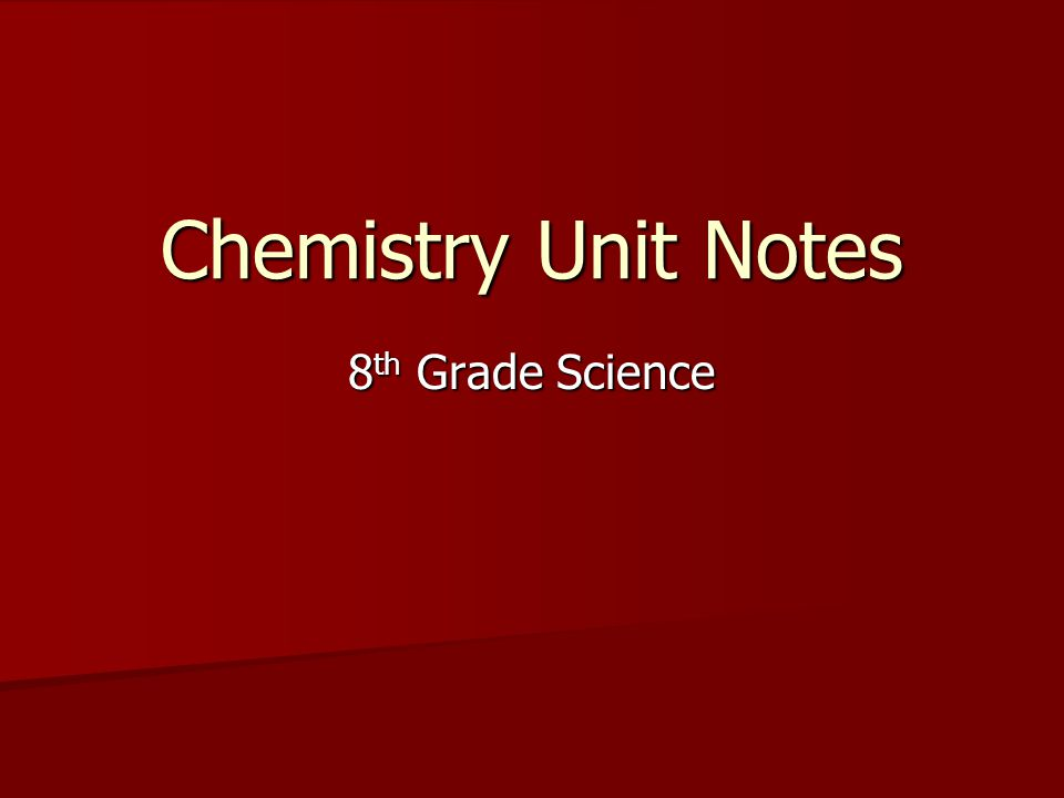 Chemistry Unit Notes 8th Grade Science