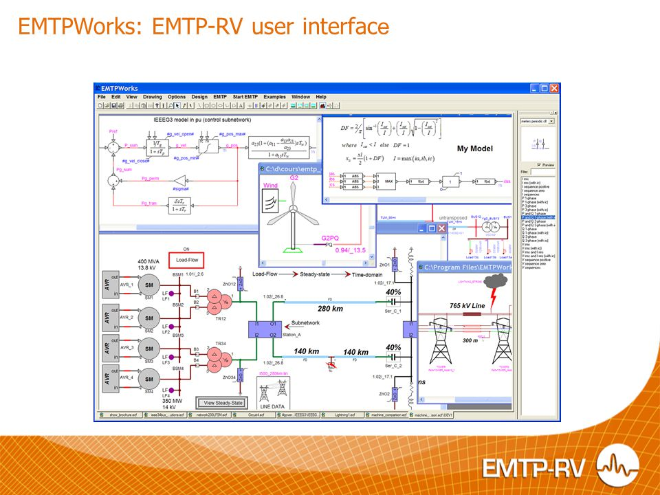 EMTPWorks: EMTP-RV user interface