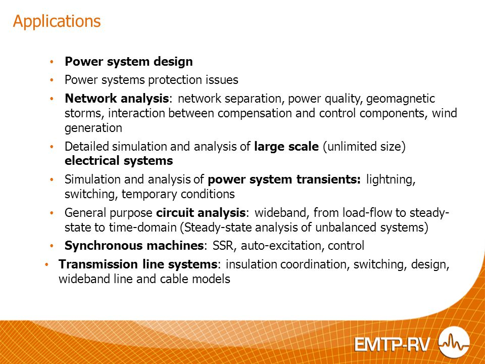 Applications Power system design Power systems protection issues