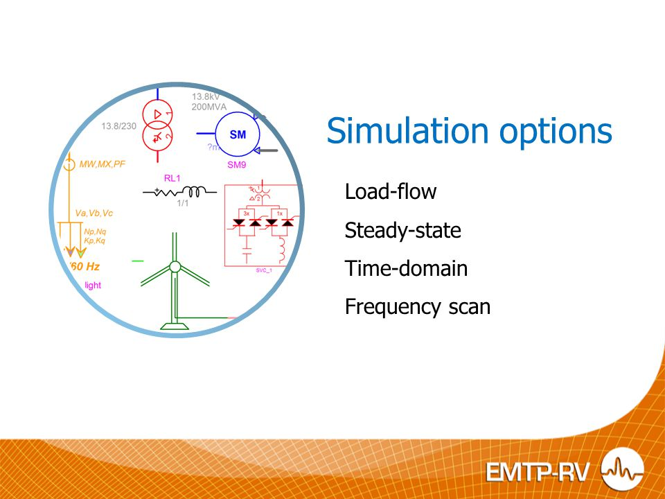 Simulation options Load-flow Steady-state Time-domain Frequency scan