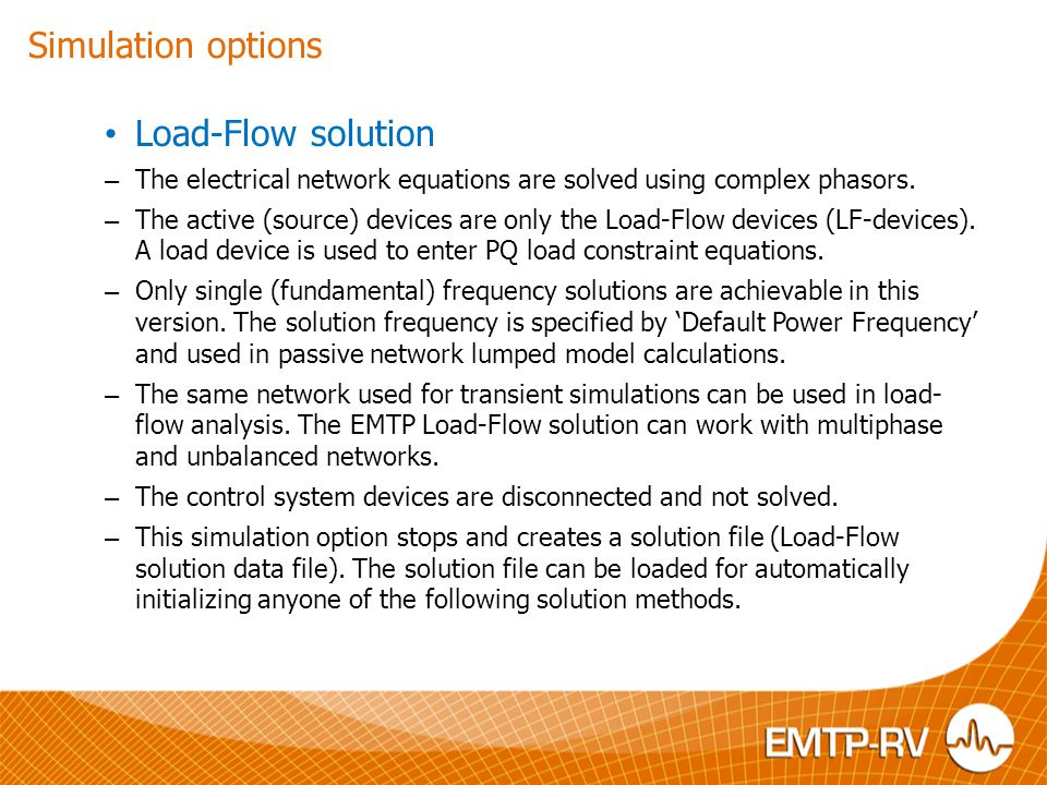 Simulation options Load-Flow solution