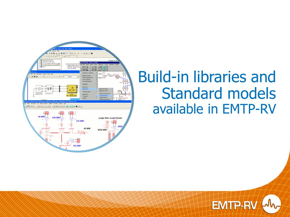 Build-in libraries and Standard models available in EMTP-RV